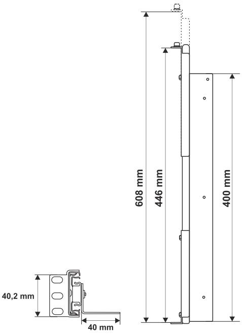 Wymiary szyny montażowej ARAS600 Pulsar.