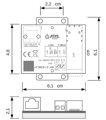 Wymiary media konwertera xFiber-2-60