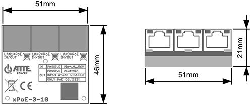 Wymiary switcha xPoE-3-10.