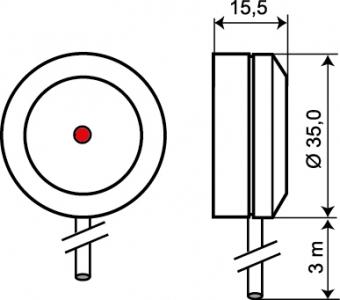 Wymiary detektora zbicia szyby GD 330.