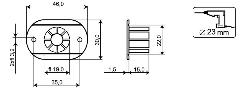 MC200-S12 - Wymiary kołnierza montażowego.