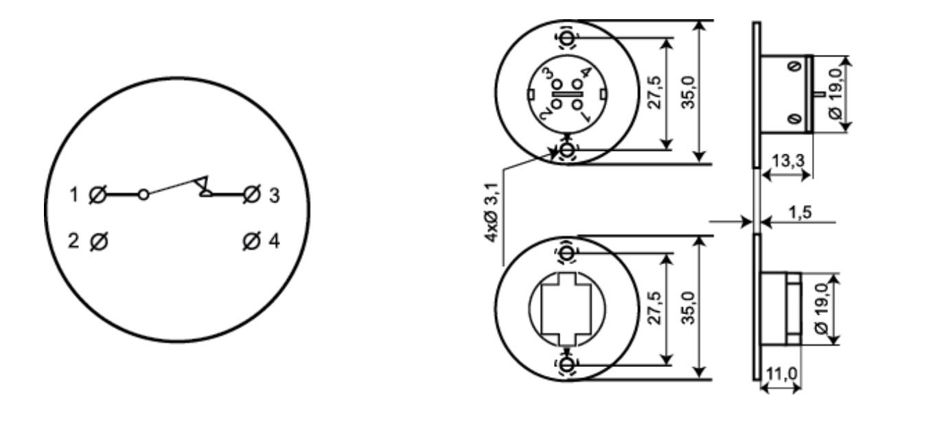 Schemat podłączenia kontaktronu