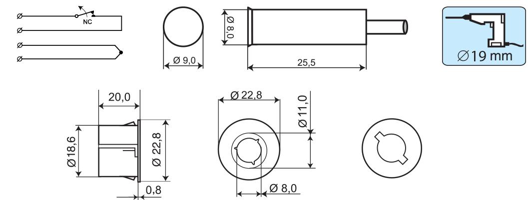 MC 340-S32 - Wymiary podane w mm.