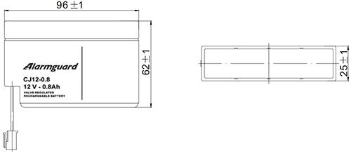 Wymiary akumulatora - CJ12-0.8