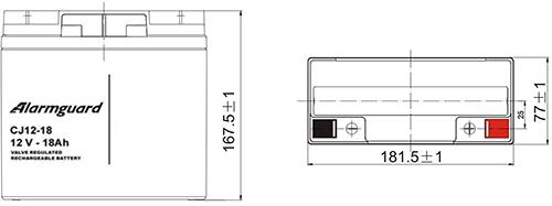 Wymiary akumulatora - CJ12-18