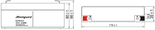 Wymiary akumulatora - CJ12-2.2