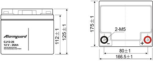 Akumulator 26Ah 12V - Wymiary.