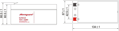 Wymiary akumulatora - CJ12-3.2
