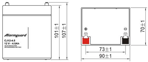 Wymiary akumulatora - CJ12-4.5