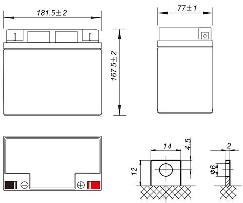 Wymiary akumulatora - CS12-18