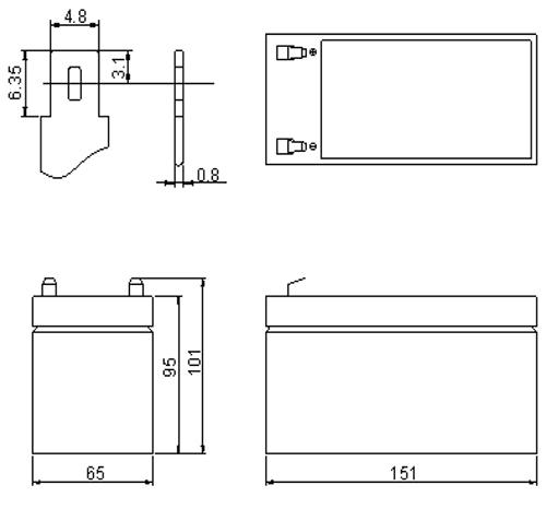Wymiary akumulatora -CS12-7.0