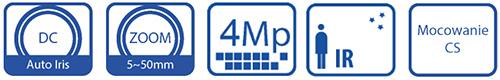 Specyfikacje obiektywu megapikselowego BCS-0554MIR