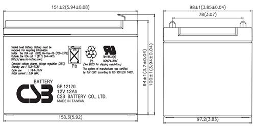 Wymiary akumulatora - GP12120