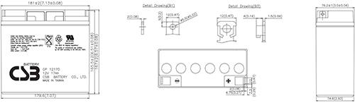Wymiary akumulatora - GP12170