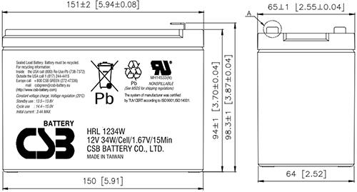 Wymiary akumulatora - HRL1234W