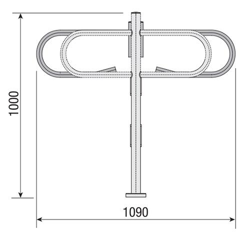 Wymiary mechanicznej bramki obrotowej COMPASS.