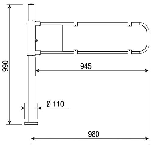 Wymiary mechanicznej bramki uchylnej FLAG.