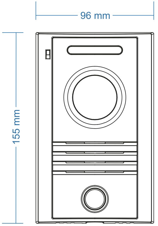 DRC-40KPT - Wymiary kamery do wideodomofonu.