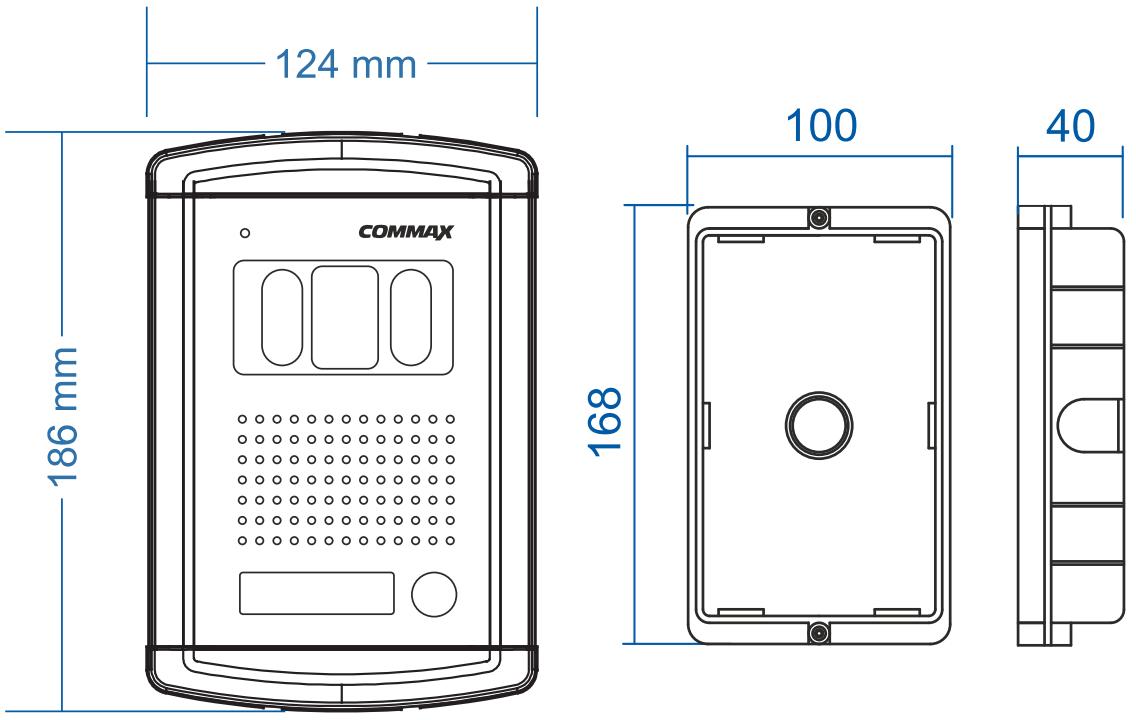 DRC-4CANS - Wymiary kamery do wideodomofonu.