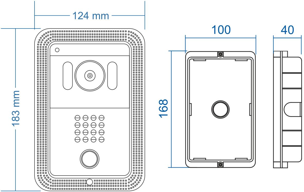 DRC-4FC - Wymiary kamery do wideodomofonu.