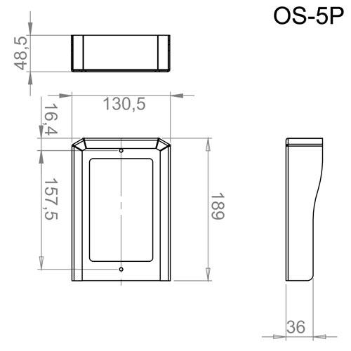 OS-5P - Wymiary osłony do stacji bramowej.