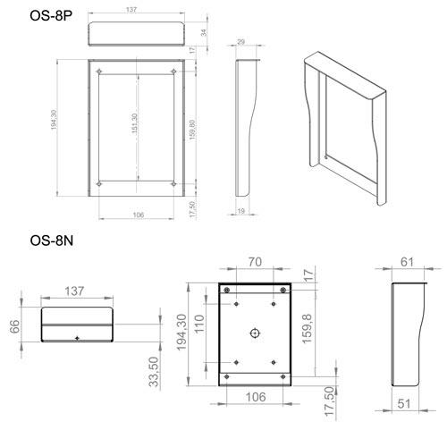 OS-8P / OS-8N - Wymiary osłony do stacji bramowej.