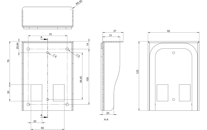 Wymiary osłony OS-9S do stacji bramowej.