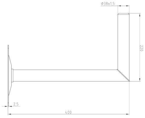 Wymiary uchwytu Corab USL-38/400-H
