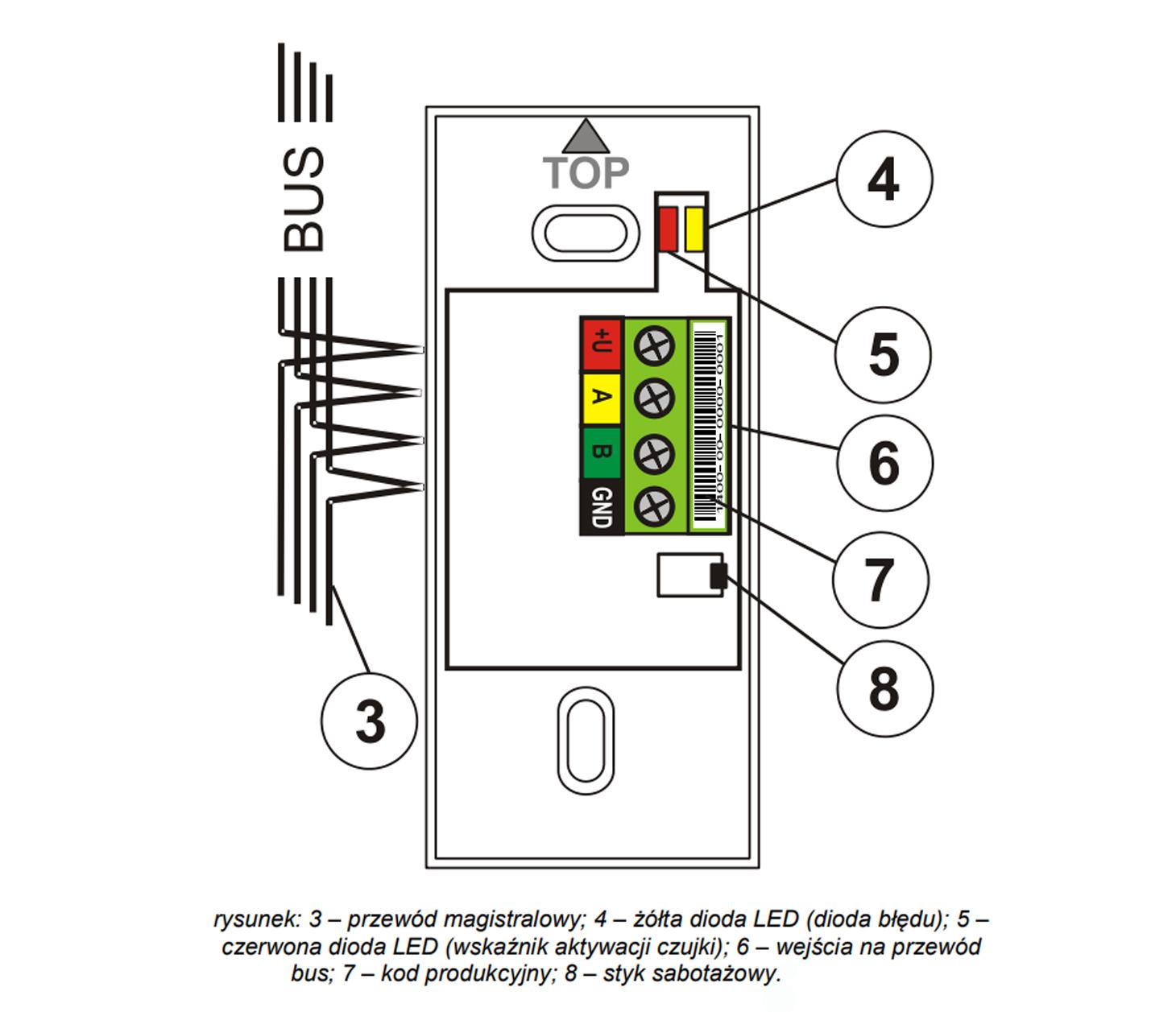 JA111SH - Czujnik wstrząsu lub przechyłu (BUS).