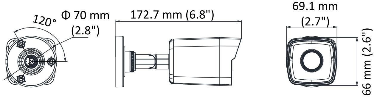 DS-2CD1043G0-I - Wymiary kamery IP.