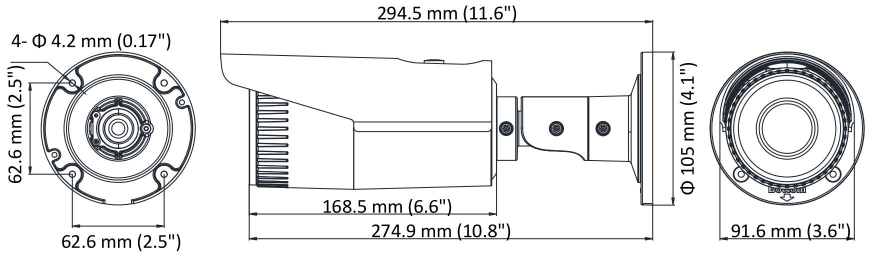 DS-2CD1621FWD-I(Z) - Wymiary kamery.