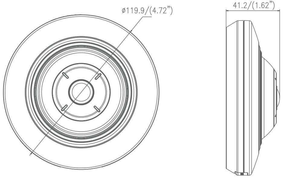 DS-2CD2955FWD-I(S) - Wymiary kamery fisheye IP.