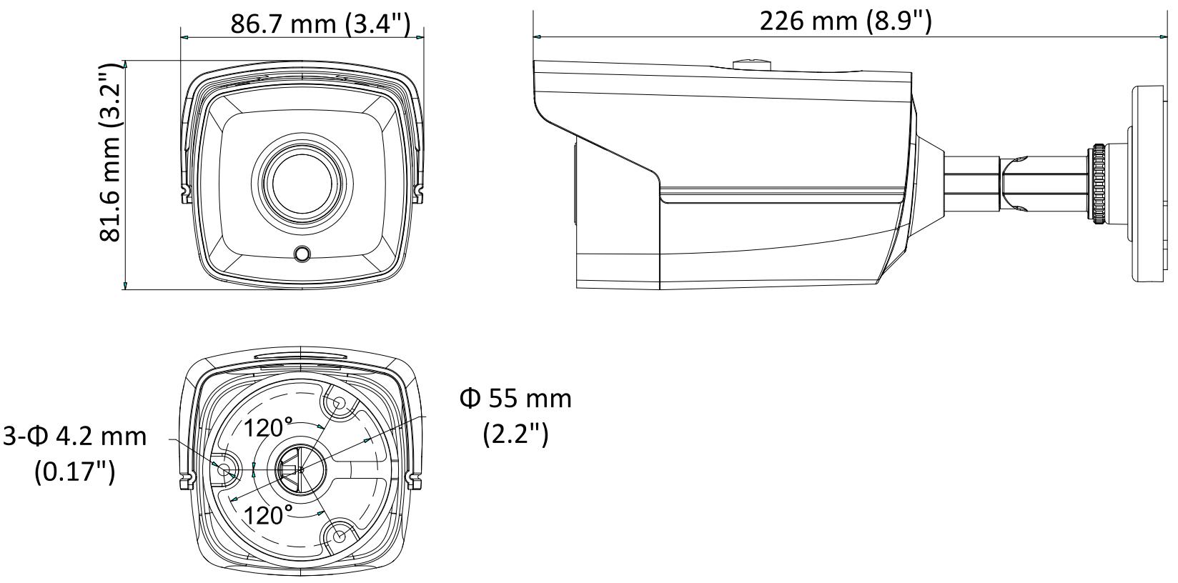 DS-2CE16D8T-IT3 / DS-2CE16D8T-IT3E - Wymiary kamery podane w mm.