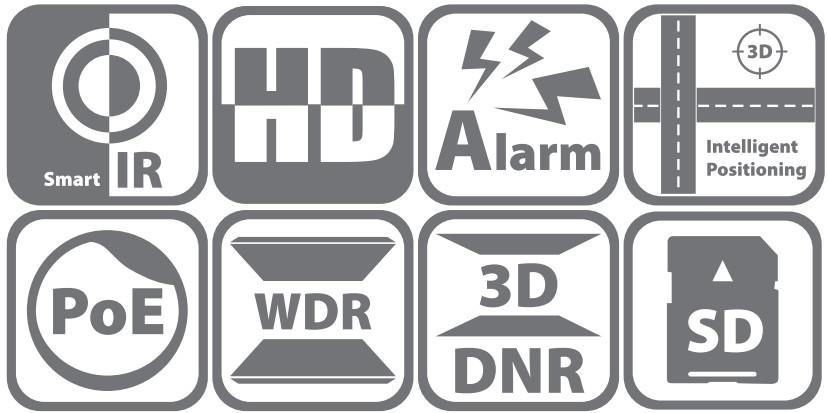 DS-2DE2204IW-DE3 - Ikonki specyfikacji kamery.