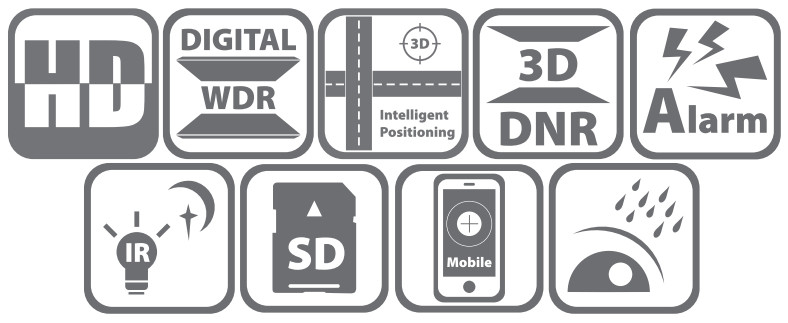 DS-2DE7220IW-AE - Ikonki specyfikacji kamery.