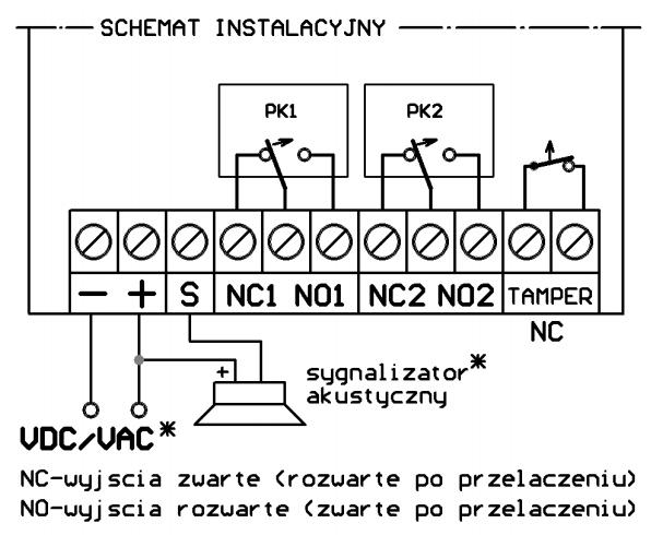 DWB100HRhet - Schemat podłączenia odbiornika.