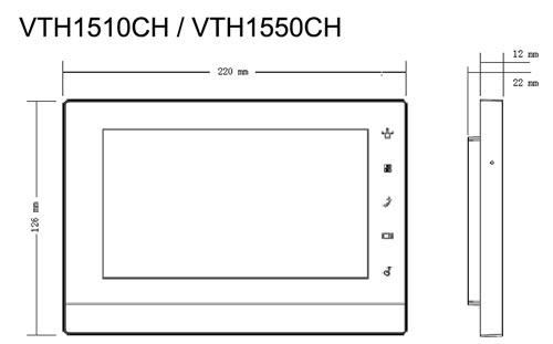 VTH1550CH / VTH1510CH - Wymiary monitora do wideodomofonu.