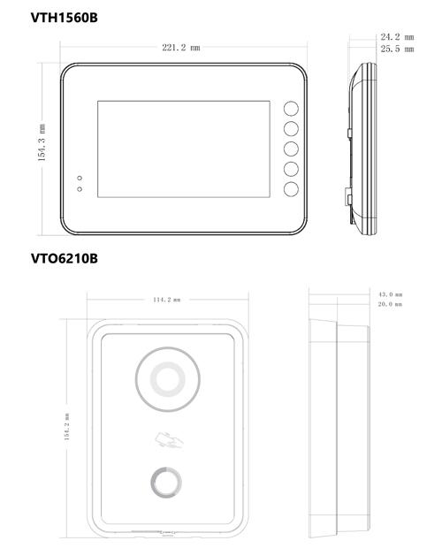 VTK-VTO6210B-VTH1560B - Wymiary urządzeń wchodzących w skład zestawu.