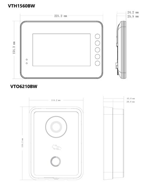 VTK-VTO6210BW-VTH1560BW - Wymiary urządzeń wchodzących w skład zestawu.