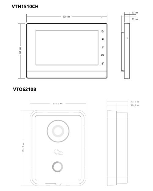 VTK-VTO6210B-VTH1510CH - Wymiary urządzeń wchodzących w skład zestawu.