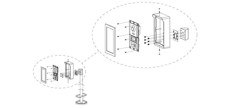Instalacja systemu VTO4202F-X z słupkiem VTM01R2.
