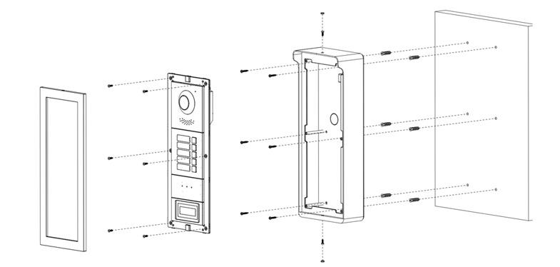 Instalacja systemu VTO4202F-X z puszką natynkową VTM03R3.