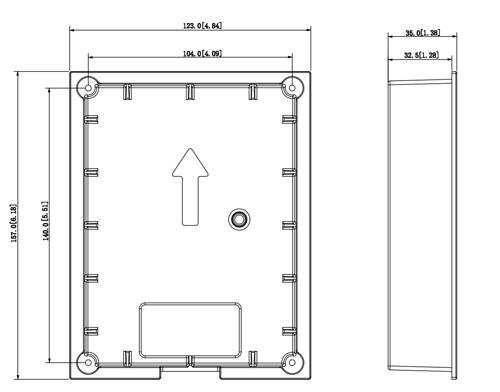 Wymiary puszki montażowej VTM114 (mm [cale]).