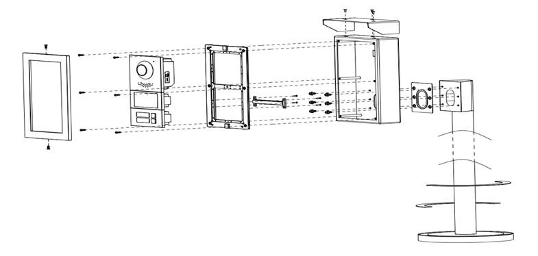 Instalacja systemu VTO4202F-X z słupkiem VTM51R2.