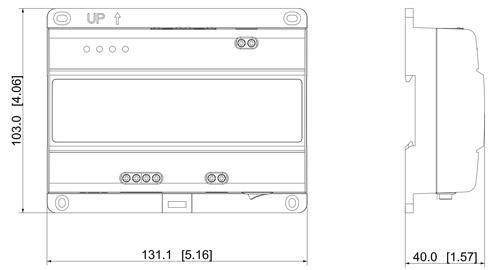 Wymiary kontrolera 2-Wire Dahua (mm [cale]).
