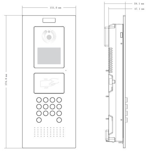 VTO1220A - Wymiary panelu bramowego Dahua (mm).