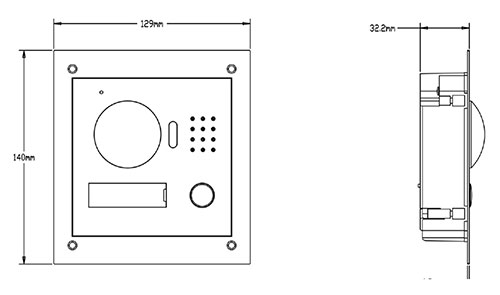 Wymiary panela wideodomofonowego Dahua VTO 2000 A