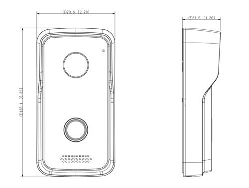Wymiary panelu bramowego Dahua podane w milimetrach i calach.