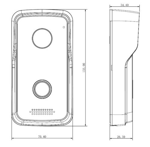 VTO2111D-WP - Wymiary panelu bramowego Dahua (mm).