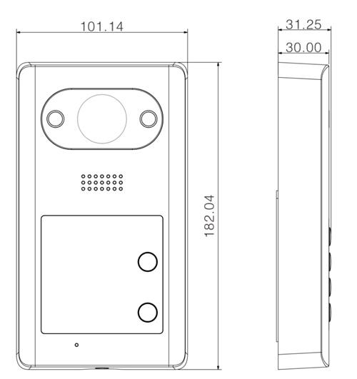 VTO3211D-P - Wymiary panelu bramowego Dahua (mm).